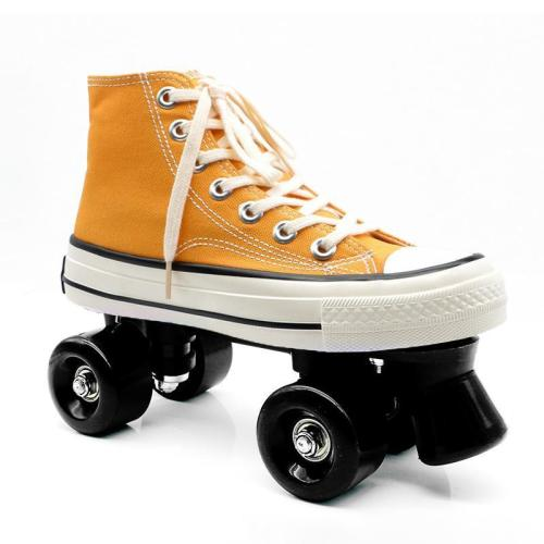 Yellow Outdoor Canvas Roller Skates With Lights