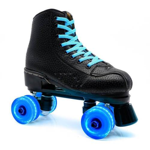 Black Outdoor Light Up Adult Women Roller Skates For Beginner