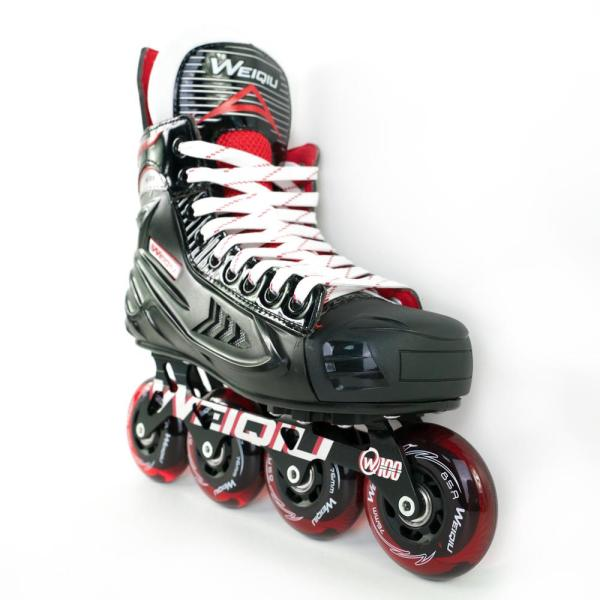 W-100 Inline Hockey Skates For Adults, Youth & Kids, Black+Red