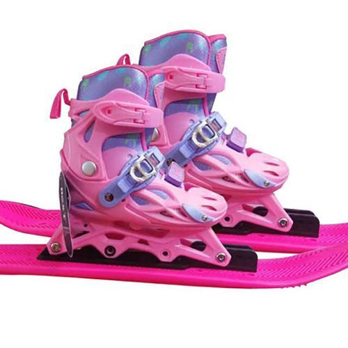 Kids Pink Ski Boots and Skis For Beginner