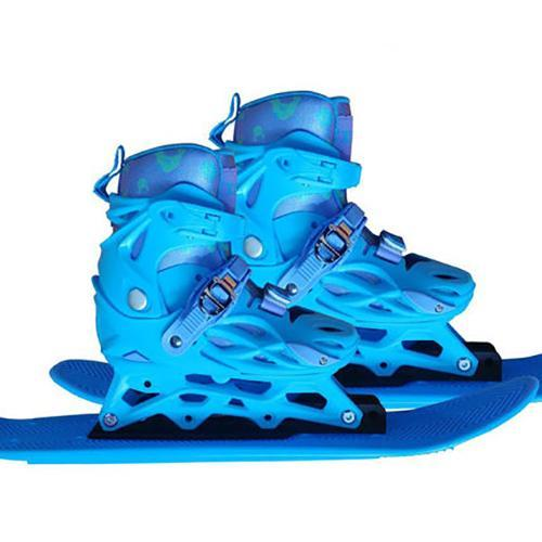 Kids Blue Ski Boots and Skis For Beginner