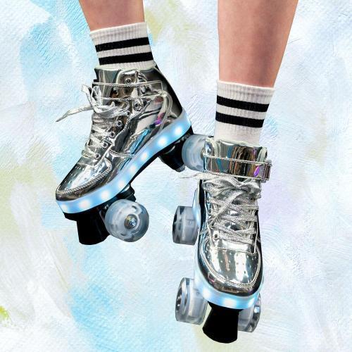 Flash Roller Skates, Silver