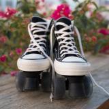 Vintage Sneaker Style Roller Skates, Black