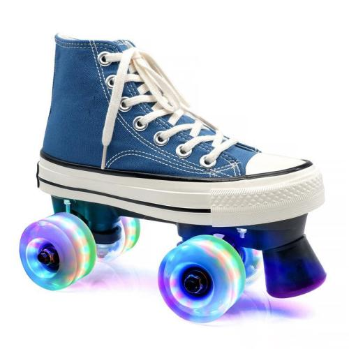 Blue Canvas Outdoor Quad Roller Skates Boots For Women & Men