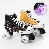 Best Beginner Roller Skates Light Up Contrast Color Canvas Roller Skates For Men And Women