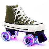 Army Green Canvas Outdoor Quad Roller Skates Boots For Women & Men