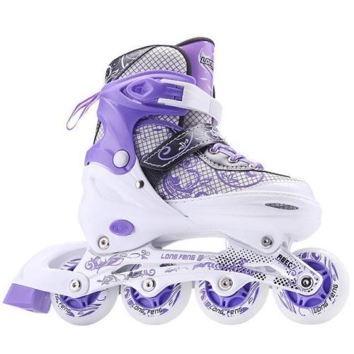 Flashing Roller Blades Adjustable Four Wheel Kids & Adult Inline Skates Light Up Roller Skates
