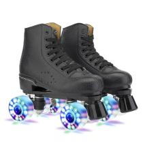 Black Indoor & Outdoor Roller Skates Light Up Quad Skates For Adults