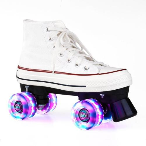 White Canvas Outdoor Quad Roller Skates Boots For Women & Men