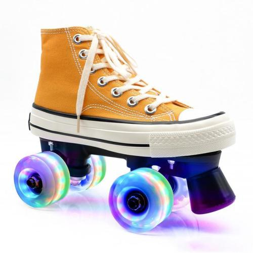 Yellow Canvas Outdoor Quad Roller Skates Boots For Women & Men
