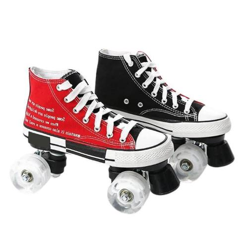 Best Beginner Roller Skates Light Up Contrast Color Canvas Roller Skates For Men And Women
