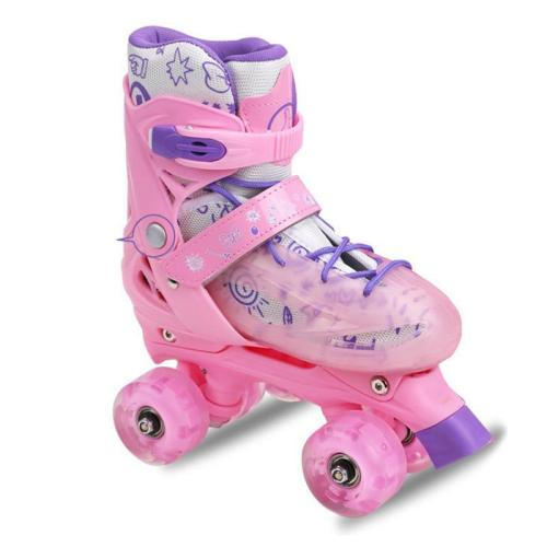 Girls Light Up Roller Skates Fun Flash Quad Adjustable Kids Roller Skates Outdoor