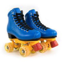 Navy Blue First Layer Leather Quad Skates Retro Adults Roller Skates For Beginners