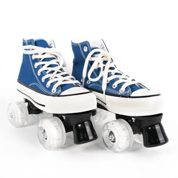 Blue Canvas Outdoor Quad Roller Skates Boots For Women & Men