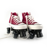 Red Canvas Outdoor Quad Roller Skates Boots For Women & Men