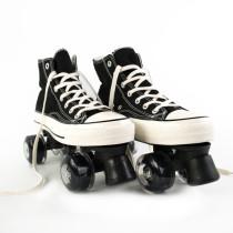 Black Canvas Outdoor Quad Roller Skates Boots For Women & Men