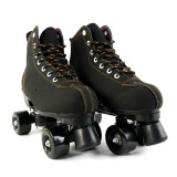 Light Up Skate Wheels Black Frosted Leather Flash Roller Skates for Womens & Mens