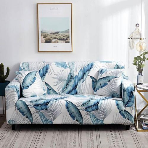 White Feather Printed Sofa Covers