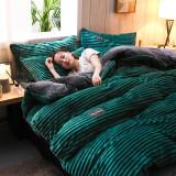 Dark blue striped suede bedding 4pcs/set-AB side