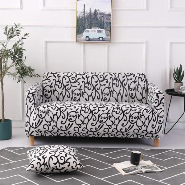 White Abstract Lines Couch Covers