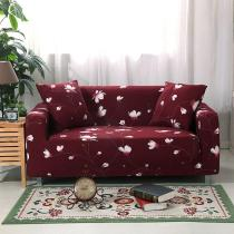 Red Floral Printed Couch Covers