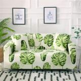 White Green Leaf Printed Couch Covers