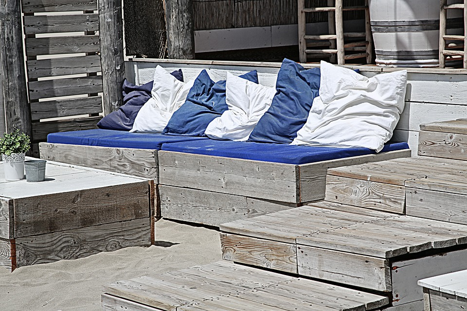 Sofa cover for thin sofa cushion on terrace