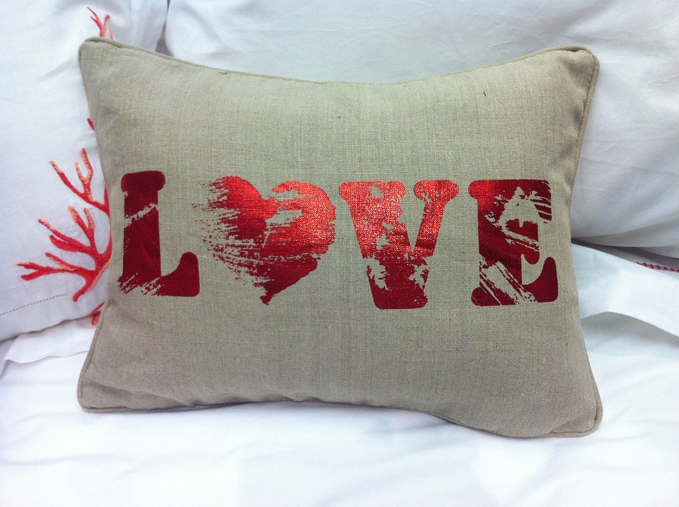 Brownish yellow love pillowcase-cotton and linen material