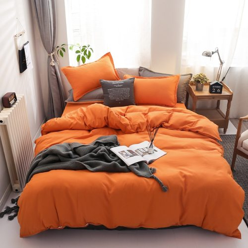 New Solid orange color bedding set bed 3-4pcs