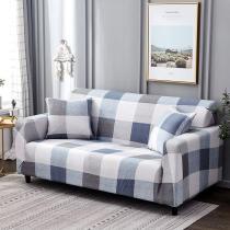 Gray Blue Gingham Printed Sofa Covers