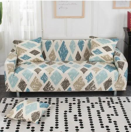 Blue & White Ink Geometry Couch Covers