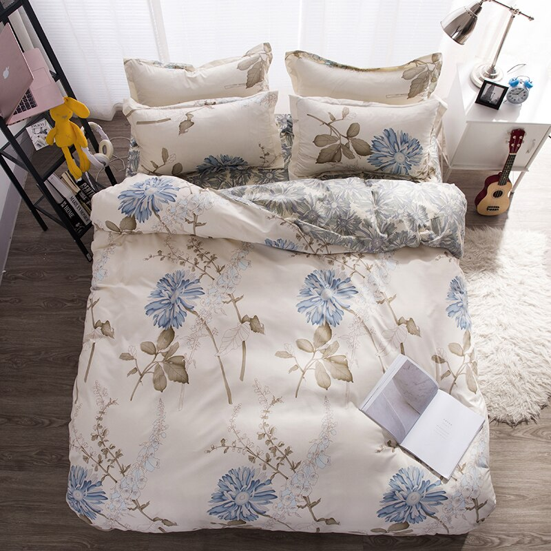 3/4pcs King Size Black and White leopard pattern bedding set