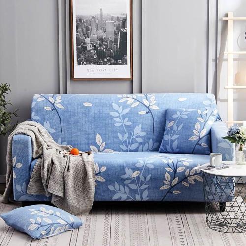 Light Blue Leaves Sofa Covers