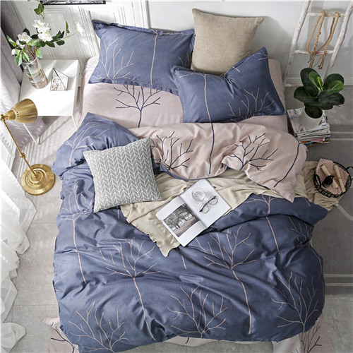 Tropical Leaf Plaids Geometric 4pcs Bed Cover Set Cartoon Duvet Cover Bed Sheets And Pillowcases Comforter Bedding