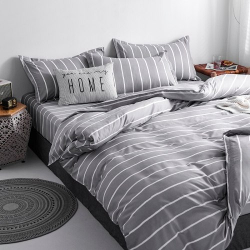 Tropical Leaf Plaids Geometric 4pcs Bed Cover Set Cartoon Duvet Cover Bed Sheets
