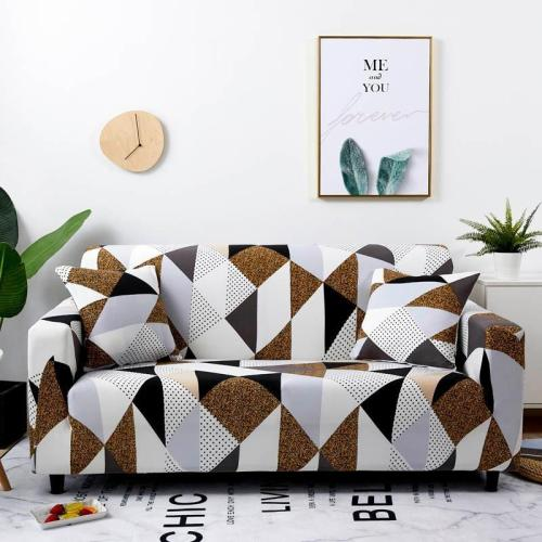 Gray Brown Geometric Sofa Covers