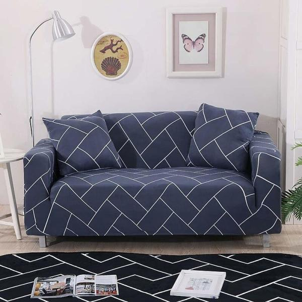 Blue Gray Rectangle Couch Covers