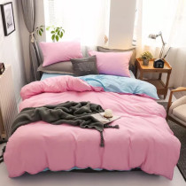 Solid Cotton Double Bedding (with Zipper, Pillowcase) Containing 4 pieces Pink