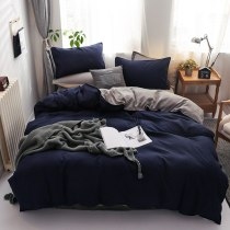 Solid Cotton Double Bedding (with Zipper, Pillowcase) Containing 4 pieces
