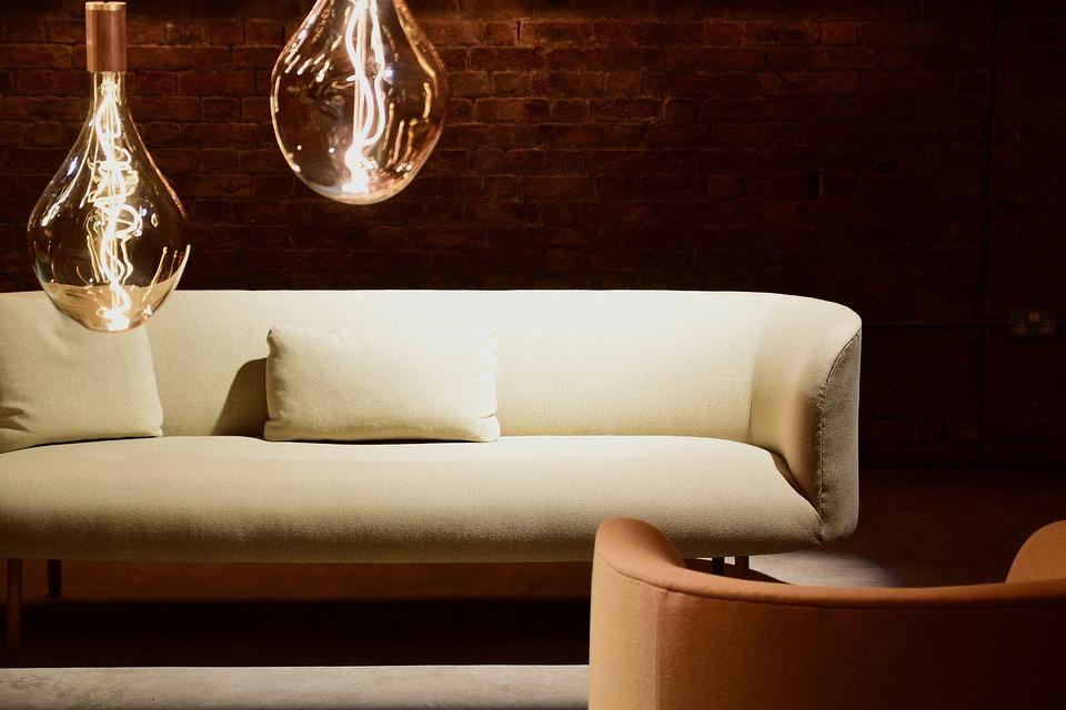 Simple sofa in warm light