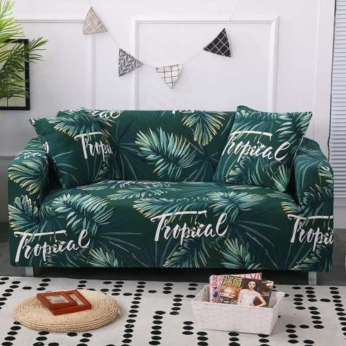 Dark Green Tropical Leaf Couch Covers