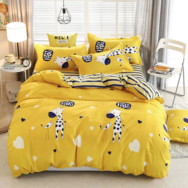 Yellow 4pcs Bed Cover Set Cartoon Duvet Cover Comforter Bedding Set