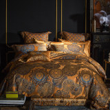 Gold Satin Cotton Bedding Set Duvet Cover Sheet Set