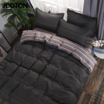JDDTON 2020 New AB sided Useful Bedding Set Beautiful Pattern Plaid and Striped Bed Linings Pillowcase Cover Bed Sheet BE012