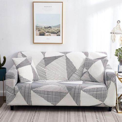 White Gray Geometric Sofa Covers