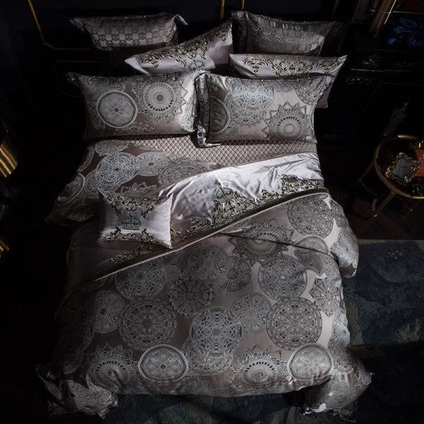 Silver Satin Cotton Bedding Set Duvet Cover Sheet Set