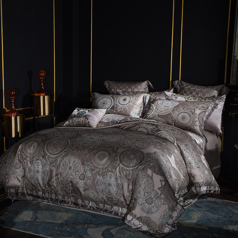 Silver Satin Cotton Bedding Set Duvet Cover Sheet Set