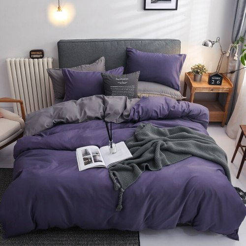 Four-piece set of cotton quilt solid color simple bed linen