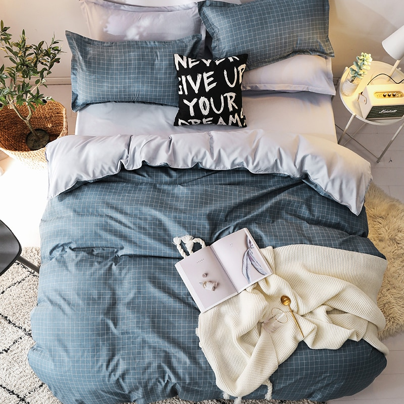 2020 Classic bedding set 5 size grey blue grid summer bed linen 4pcs