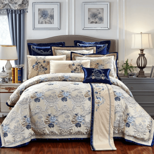 Luxury Silk Cotton Bedding Set of Ten